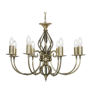 Traditional Ceiling Pendant Lights - Tuscany Antique Brass Finish 8 Light Chandelier 3380/8 AB