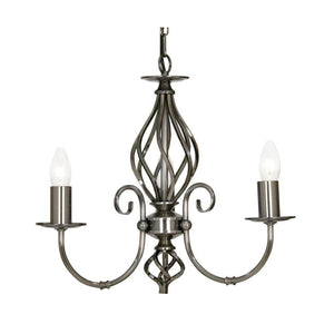 Traditional Ceiling Pendant Lights - Tuscany Antique Silver Finish 3 Light Chandelier 3380/3 AS