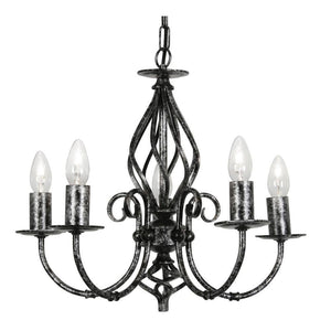 Traditional Ceiling Pendant Lights - Tuscany Black Silver Finish 5 Light Chandelier 3380/5 BS