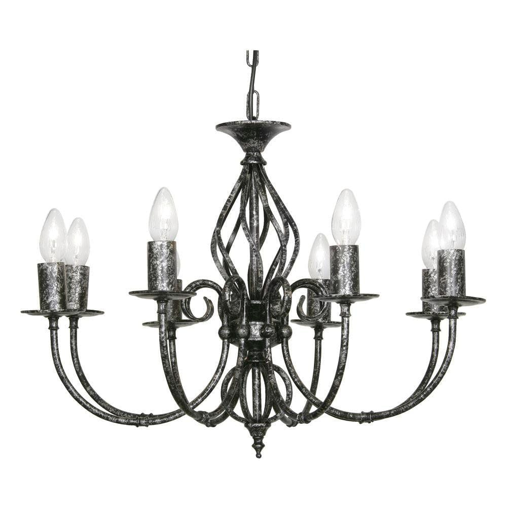 Traditional Ceiling Pendant Lights - Tuscany Black Silver Finish 8 Light Chandelier 3380/8 BS