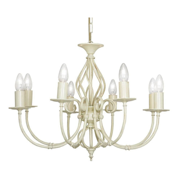 Traditional Ceiling Pendant Lights - Tuscany Ivory Finish 8 Light Chandelier 3380/8 IV