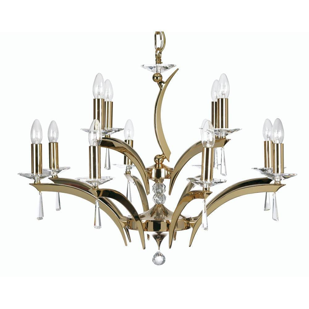 Traditional Ceiling Pendant Lights - Wroxton Cast Brass 12 Light Chandelier With Gold Plate 708/8+4 GO