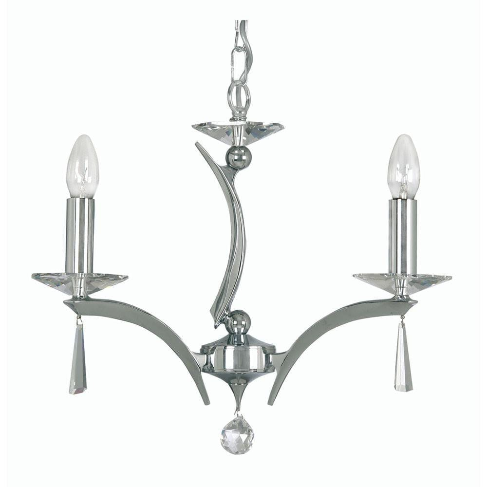 Traditional Ceiling Pendant Lights - Wroxton Cast Brass 3 Light Chandelier With Chrome Plate 708/3 CH