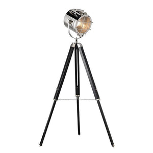 Traditional Floor Lamps - Nautical Polished Nickel Finish And Matt Black Floor Lamp EH-NAUTICAL-FL