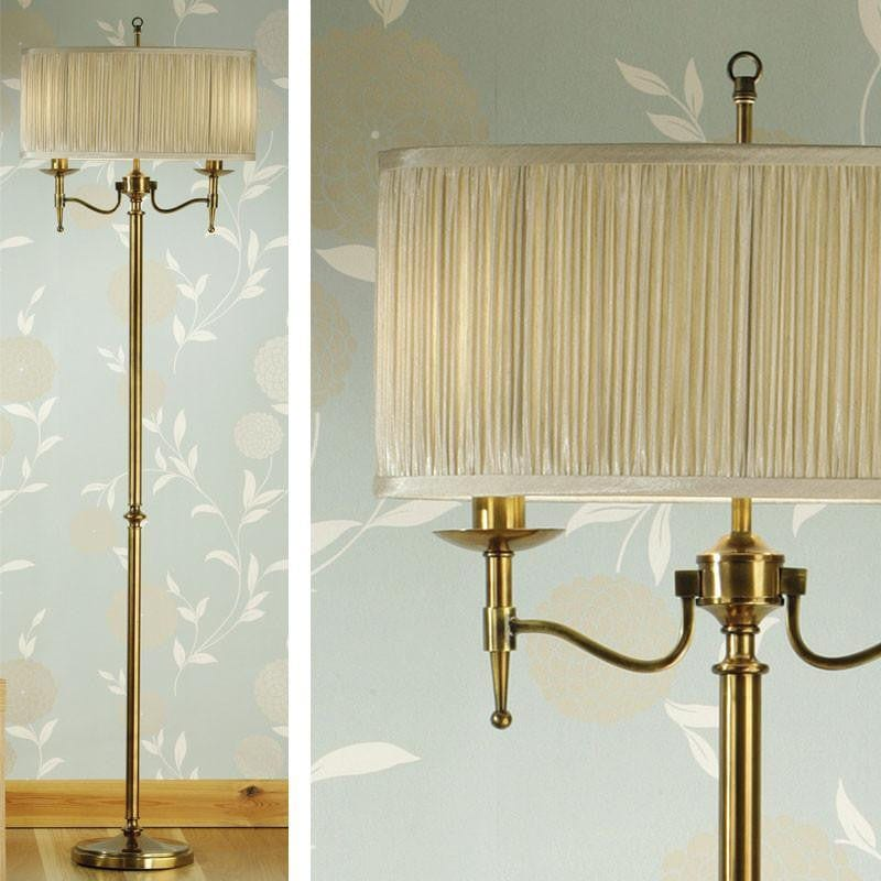Traditional Floor Lamps - Stanford Antique Brass Finish Floor Lamp 63620