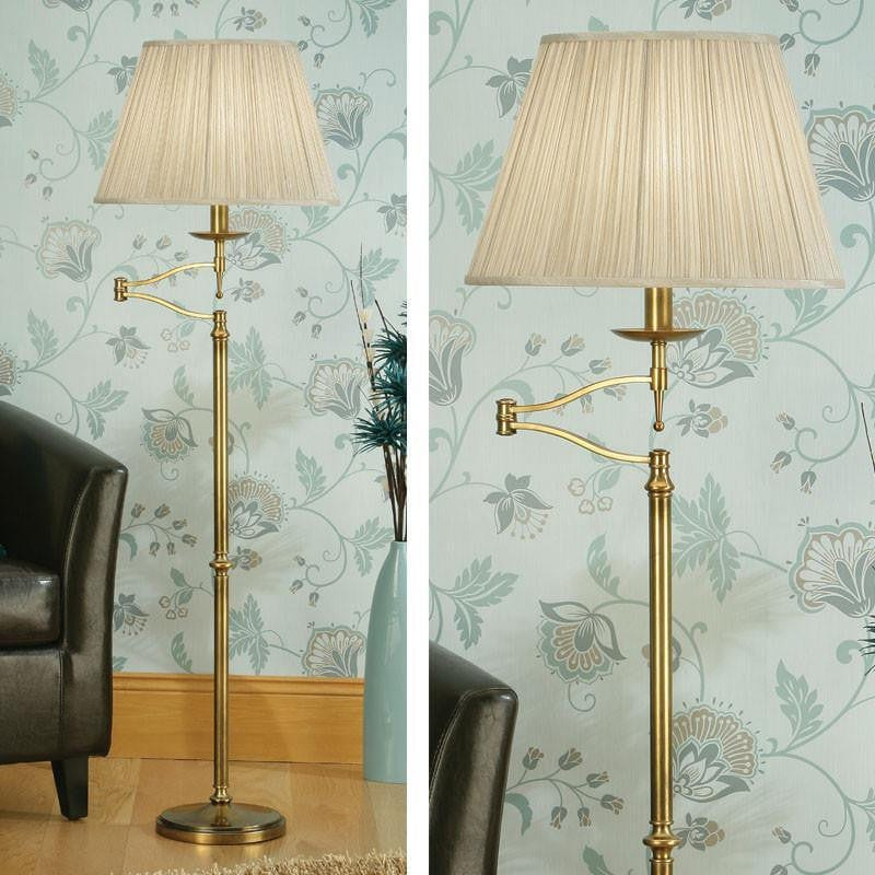 Traditional Floor Lamps - Stanford Antique Brass Finish Swing Arm Floor Lamp 63621
