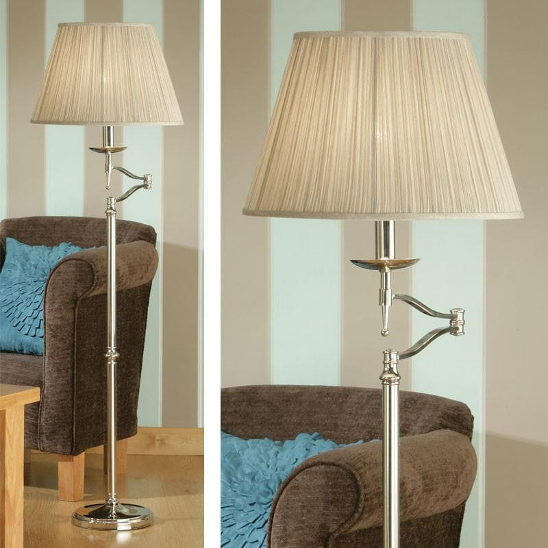 Traditional Floor Lamps - Stanford Polished Nickel Finish Swing Arm Floor Lamp 63623