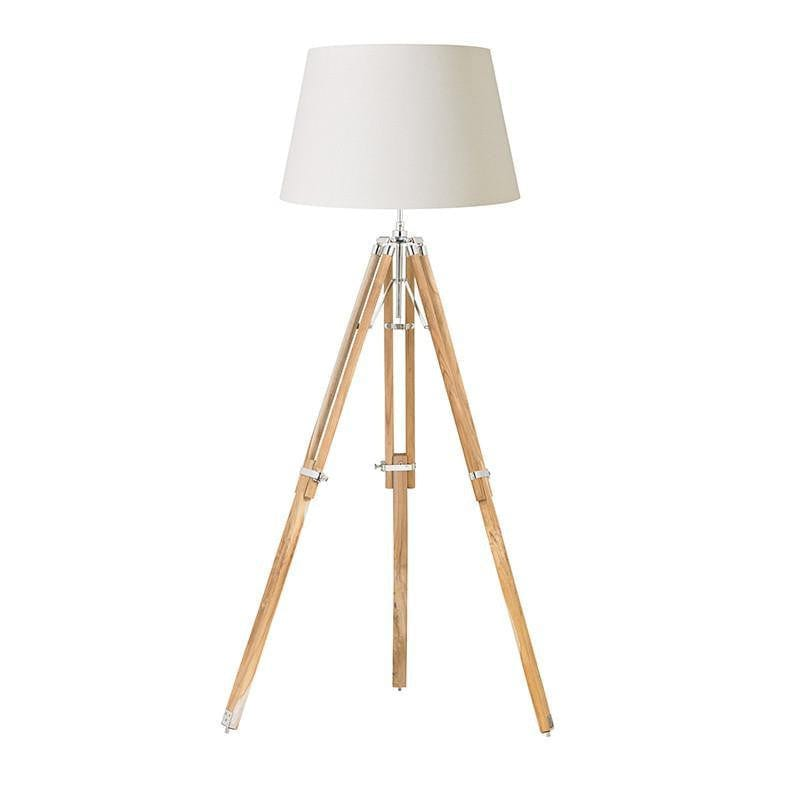 Traditional Floor Lamps - Tripod Teak Wood And Bright Nickel Finish Floor Lamp Base EH-TRIPOD-FLNA