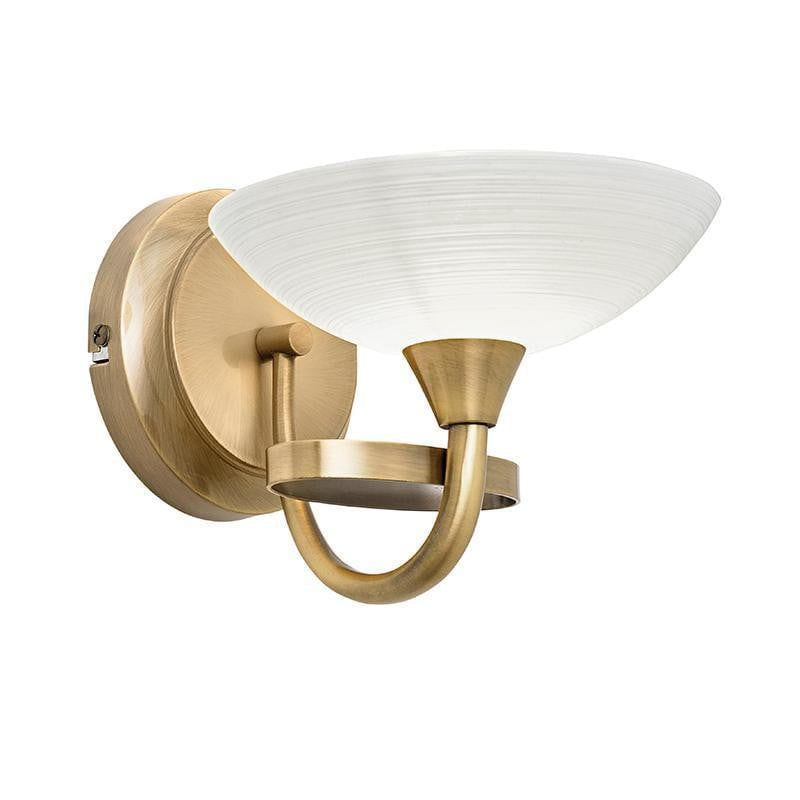 Traditional Flush And Semi Flush Ceiling Lights - Cagney 1LT Antique Brass & White Painted Glass With Lines Semi Flush Ceiling Light CAGNEY-1WBAB
