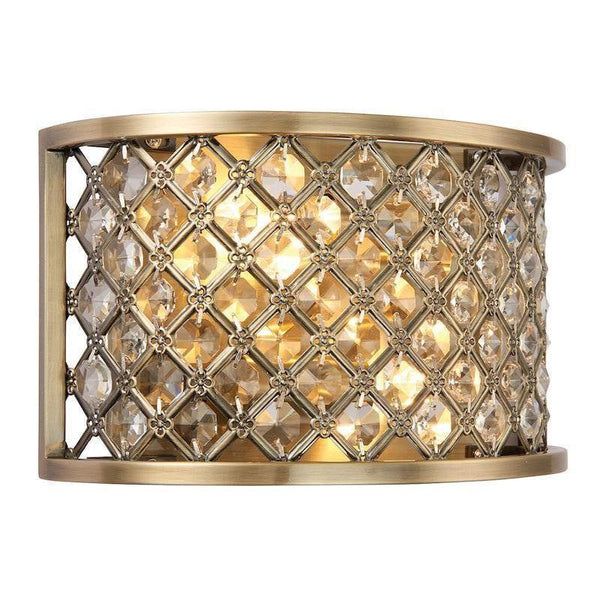Traditional Flush And Semi Flush Ceiling Lights - Hudson Antique Brass & crystal 2LT Wall Light 70559