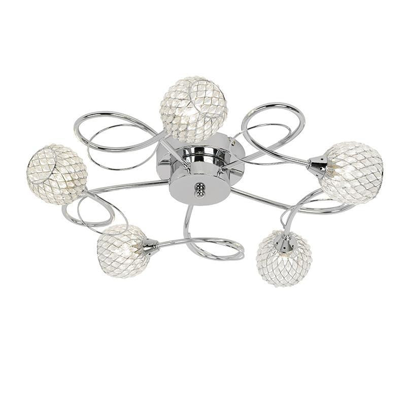 Traditional Flush & Semi Flush Ceiling Lights - Aherne 5 Arm Chrome Finish Flush Ceiling Light AHERNE-5CH AHERNE-5CH