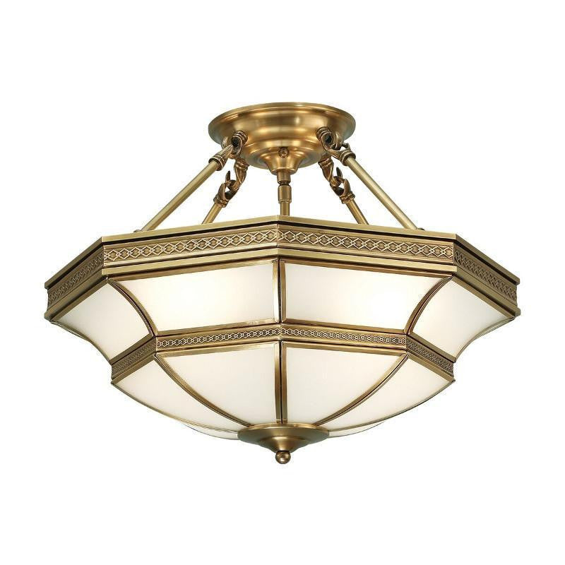 Traditional Flush & Semi Flush Ceiling Lights - Balfour Antique Brass 4 Light Semi Flush Ceiling Light SN02P47