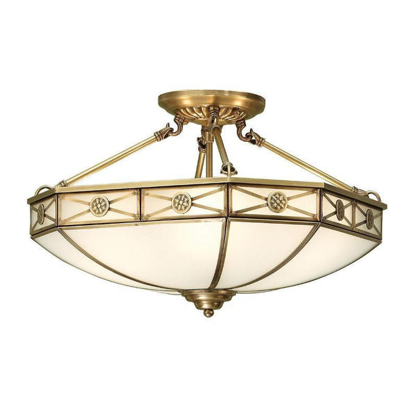 Traditional Flush & Semi Flush Ceiling Lights - Bannerman Antique Brass 4 Light Semi-Flush Ceiling Light SN04P50