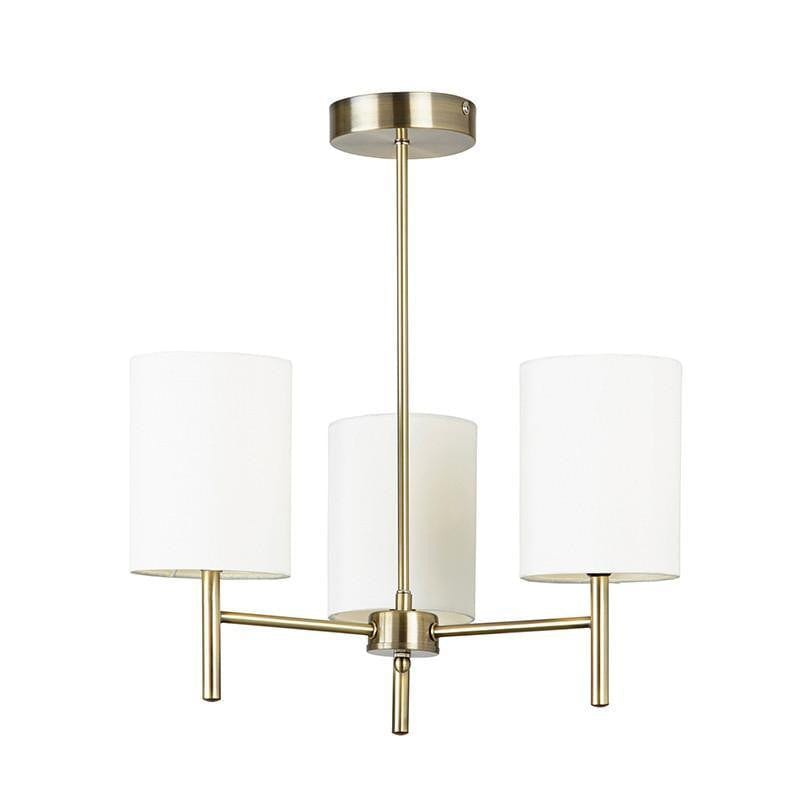 Traditional Flush & Semi Flush Ceiling Lights - Brio 3 Arm Antique Brass Finish Semi Flush Ceiling Light  BRIO-3AB