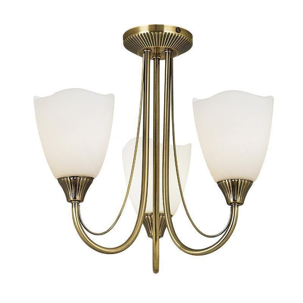 Traditional Flush & Semi Flush Ceiling Lights - Haughton Antique Brass Finish 3 Light Semi Flush Ceiling Light 601-3AN
