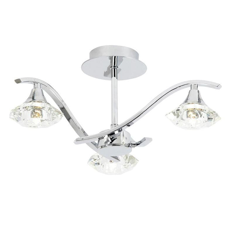 Traditional Flush & Semi Flush Ceiling Lights - Langella 3 Arm Chrome Finish Semi Flush Ceiling Light LANGELLA-3CH