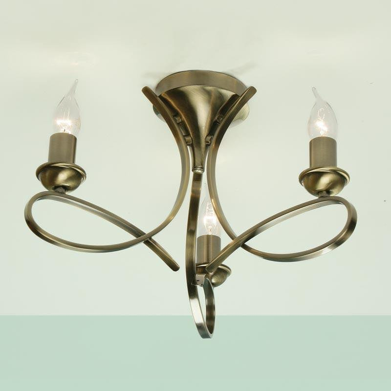 Traditional Flush & Semi Flush Ceiling Lights - Penn 3 Light Brushed Brass Finish Semi-Flush Light CA7P3BB