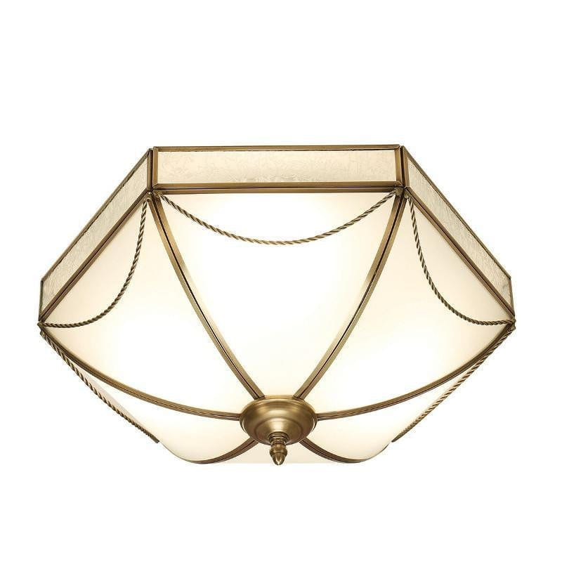 Traditional Flush & Semi Flush Ceiling Lights - Russell Antique Brass Finish 3 Light Flush Ceiling Light SN01FL43