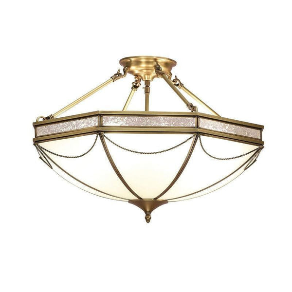 Traditional Flush & Semi Flush Ceiling Lights - Russell Antique Brass Finish 3 Light Semi-Flush Ceiling Light SN01P43