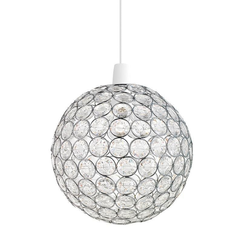 Traditional Non Electric Ceiling Pendant Lights - Oakley Chrome Finish And Clear Acrylic Beads Non Electric Ceiling Pendant Light NE-OAKLEY-CH