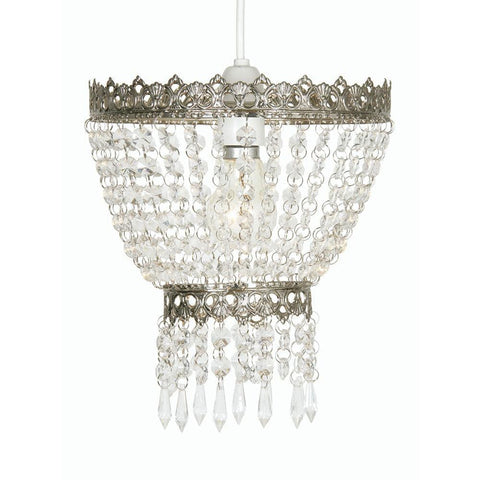 Traditional Non Electric Pendant - Ekon Satin Nickel Beaded Glass Non Electric Pendant Ceiling Light 175 SN