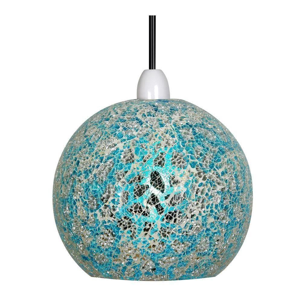 Traditional Non Electric Pendant - Faro Blue & Silver Mosaic Non Electric Pendant Ceiling 1401 BS