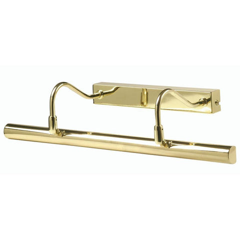 Traditional Picture Lights - Double Arm Polished Brass Finish Picture Light PL G9D PB By Oaks Lighting