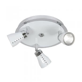 Traditional Spotlights - Milo White With Chrome Finish 3 Light Spotlight 7103 WH