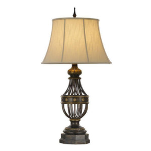 Traditional Table Lamps - Feiss Augustine Antique Brown Including Round Cream Textured Linen Ivory Soft Lined Shade Table Lamp FE/AUGUSTINE TL