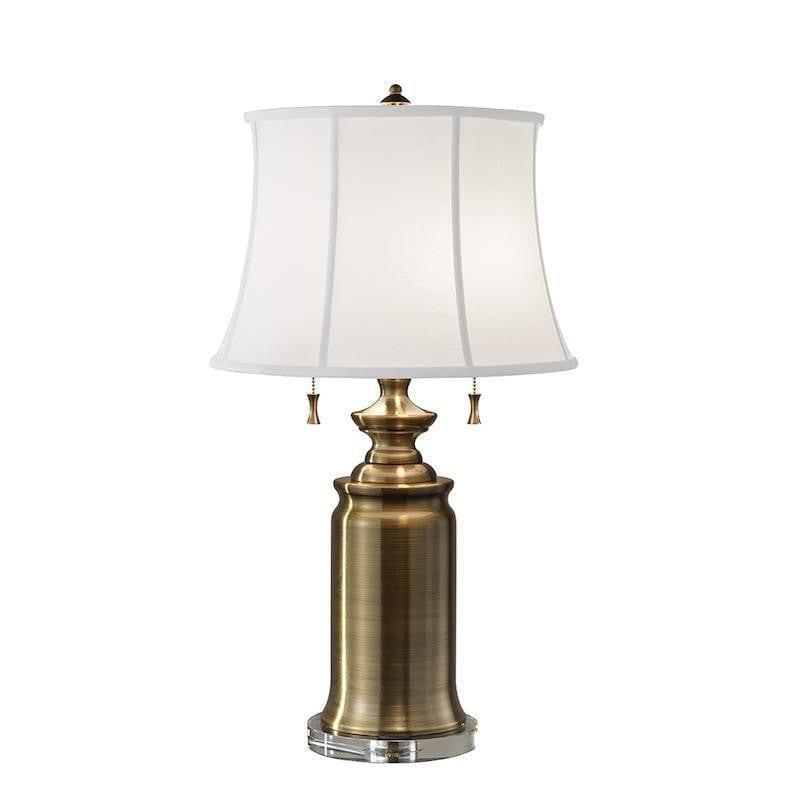 ae762f789ad Traditional Table Lamps - Feiss Stateroom TL BB Bali Brass Including White  Cotton Linen Shade Table