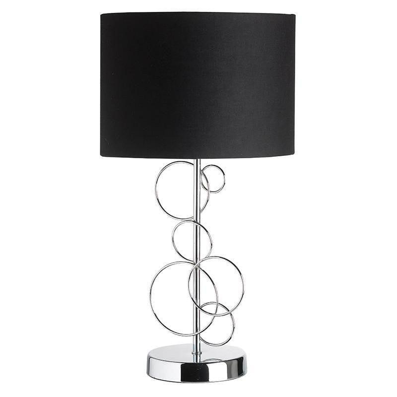 Traditional Table Lamps - Finchley Chrome Finish And Black Cotton Mix Table Lamp FINCHLEY-TLCH