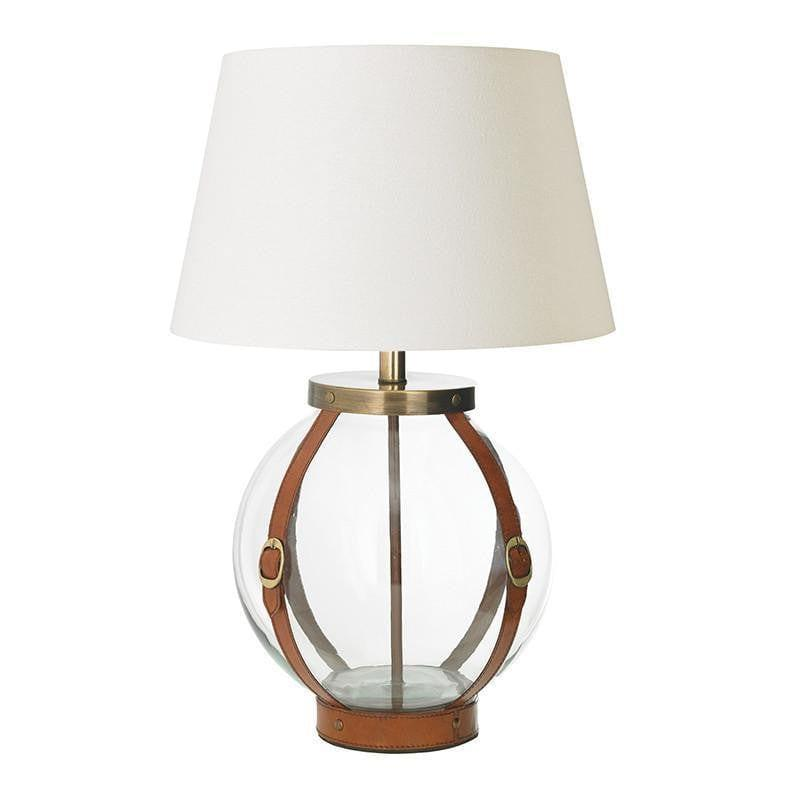 Forbes tan leather and clear glass table lamp base only eh forbes tl aloadofball Gallery