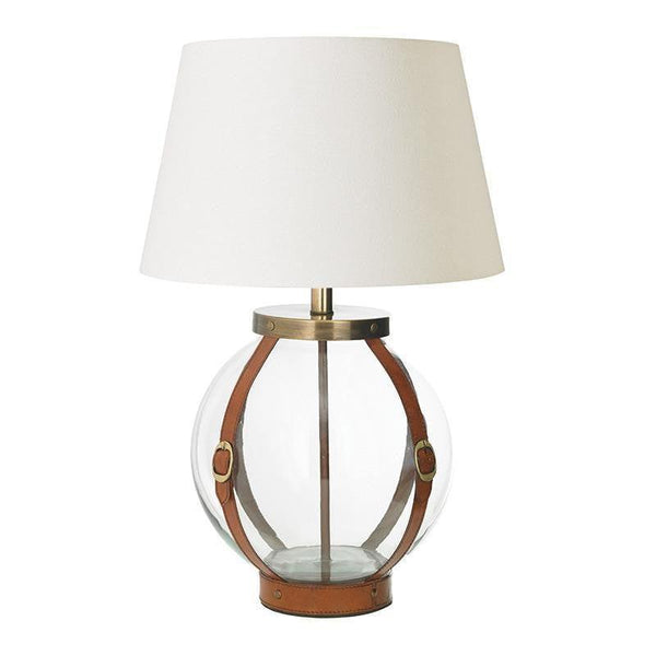 Forbes Tan Leather And Clear Glass Table Lamp Base Only Eh Forbes Tl