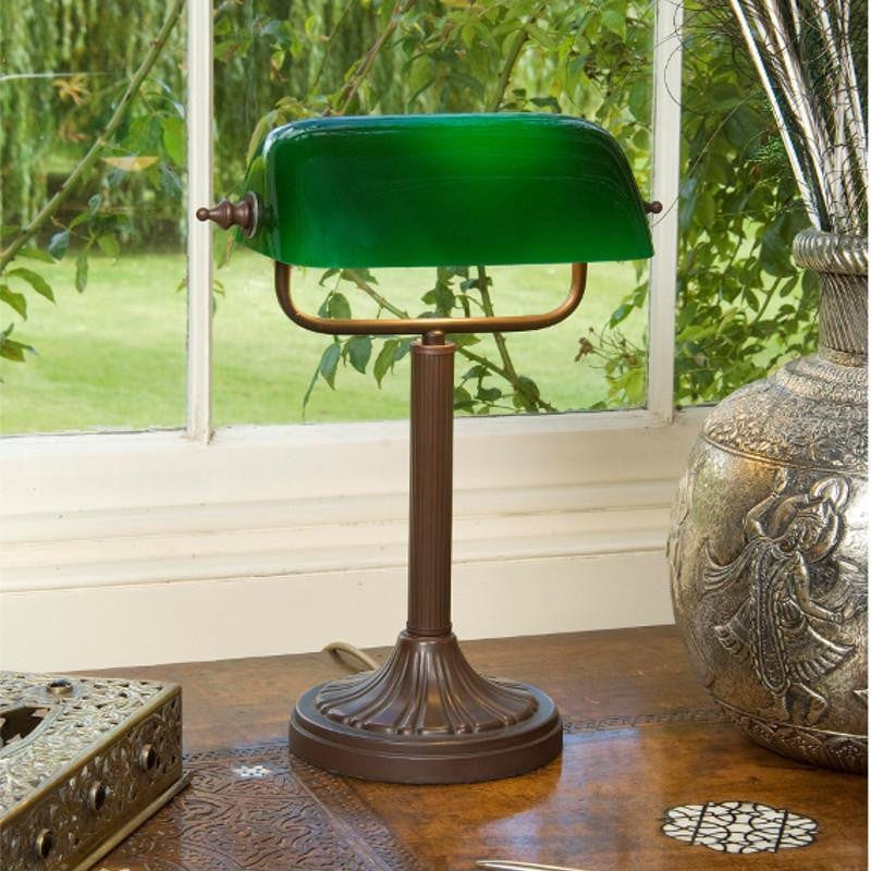 Traditional Table Lamps - Kansa Antique Bronze Green Bankers Lamps BANK93