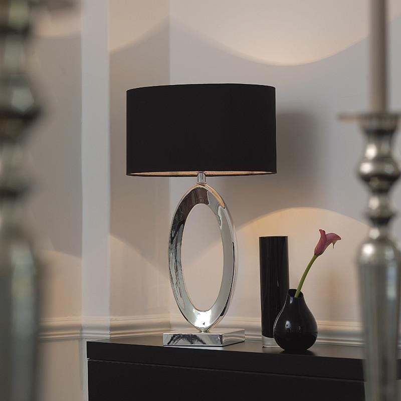 Traditional Table Lamps - Nerino Silver Finish And Black Silk Table Lamp NERINO