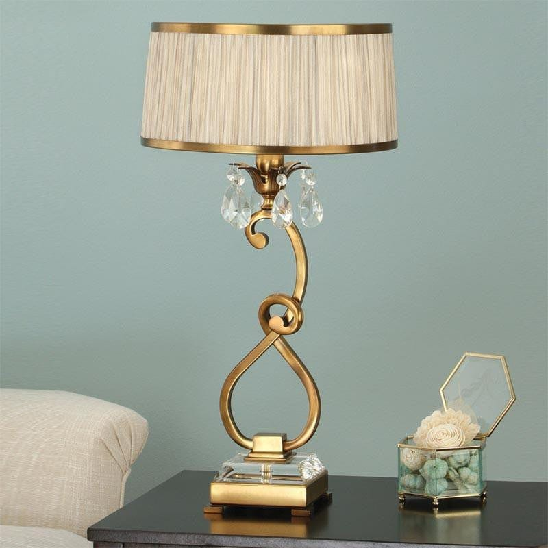 Traditional Table Lamps - Oksana Antique Brass Finish Single Table Lamp With Beige Shade 63523