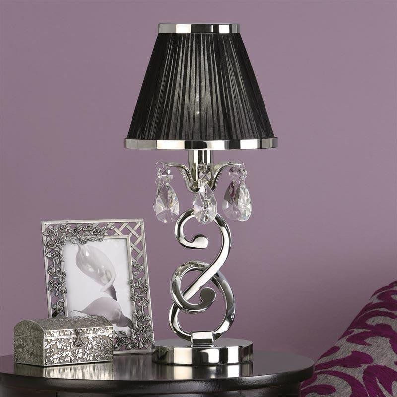 Traditional Table Lamps - Oksana Polished Nickel Finish Mini Table Lamp With Black Shade 63525