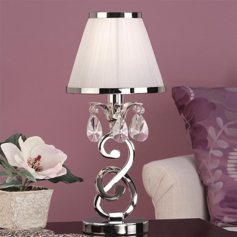 Traditional Table Lamps - Oksana Polished Nickel Finish Mini Table Lamp With White Shade 63529