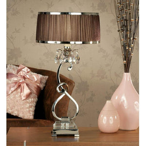 Traditional Table Lamps - Oksana Polished Nickel Finish Single Table Lamp With Chocolate Shade 63512