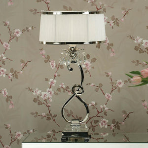 Traditional Table Lamps - Oksana Polished Nickel Finish Single Table Lamp With White Shade 63518