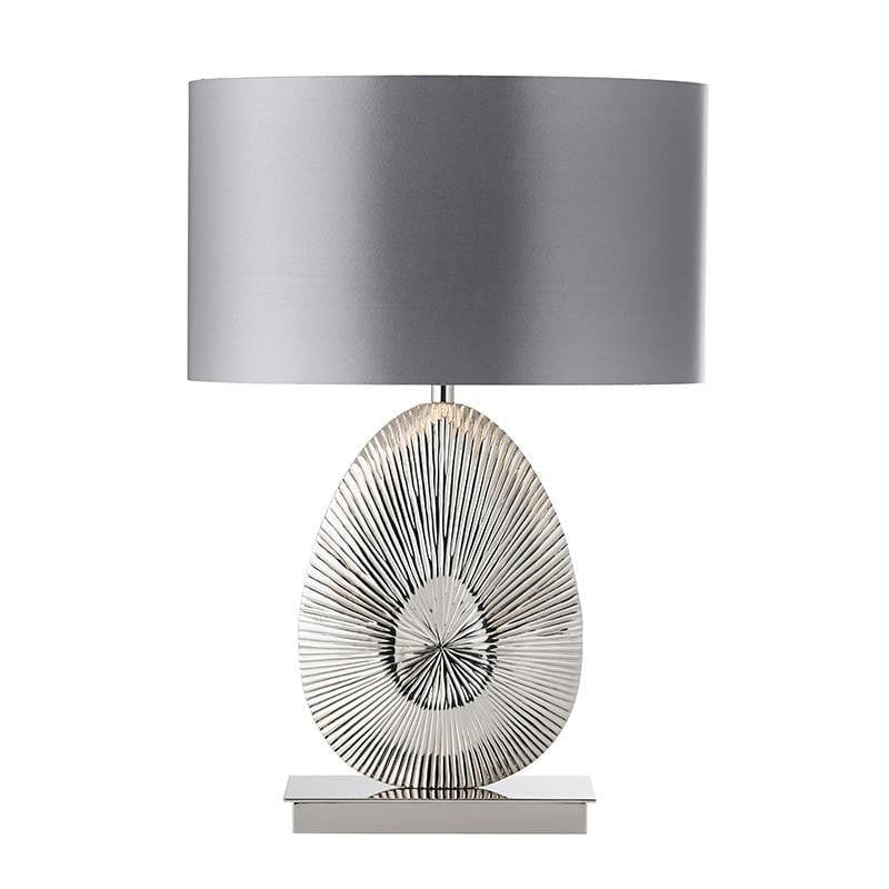 Traditional Table Lamps - Simeto Polished Nickel Finish And Warm Grey Faux Satin Table Lamp EH-SIMETO-TL