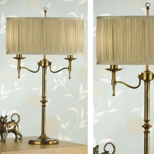 Traditional Table Lamps - Stanford Antique Brass Finish 2 Light Table Lamp 63648