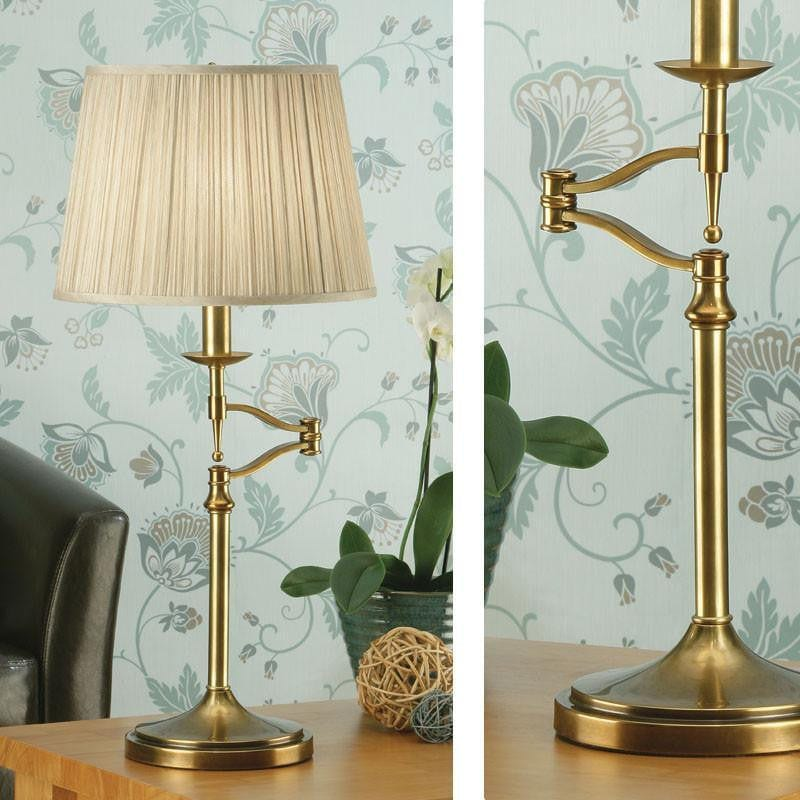 Traditional Table Lamps - Stanford Antique Brass Finish Swing Arm Table Lamp 63649