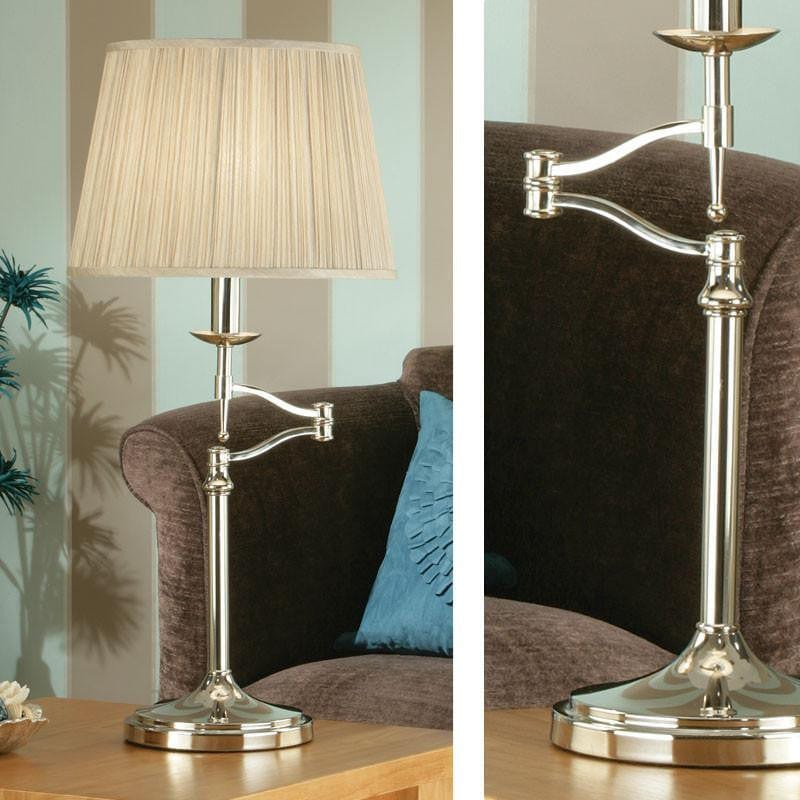 Traditional Table Lamps - Stanford Polished Nickel Finish Swing Arm Table Lamp 63651