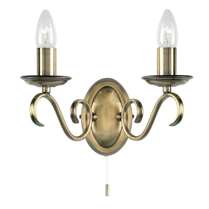 Traditional Wall Lights - Bernice Antique Brass Finish Twin Arm Wall Light 2030-2AN