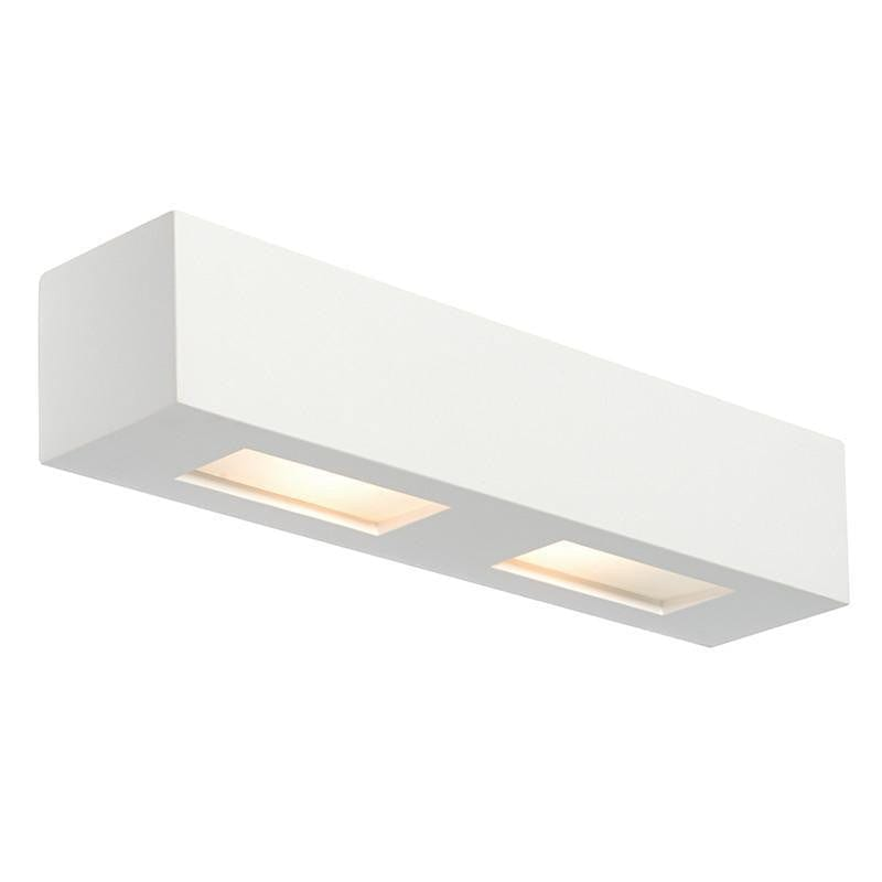 Traditional Wall Lights - Box White Plaster And Frosted Glass Wall Light 10400
