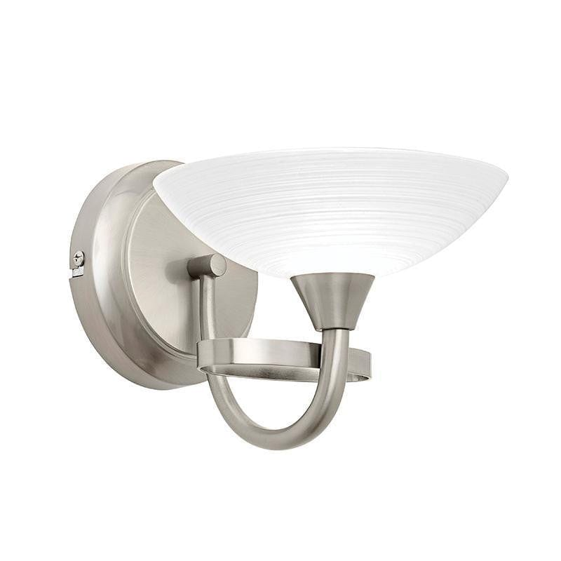 Traditional Wall Lights - Cagney 1LT Satin Crome & White Painted Glass With Lines Wall Light CAGNEY-WBSC