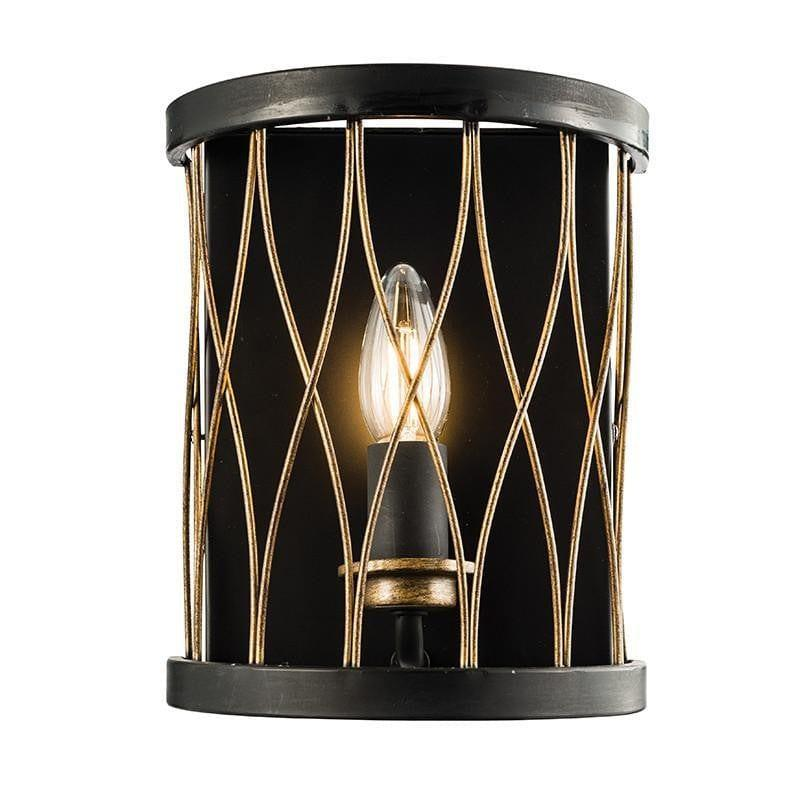 Traditional Wall Lights - Heston Matt Black And Rustic Bronze Painted Wall Light 61499