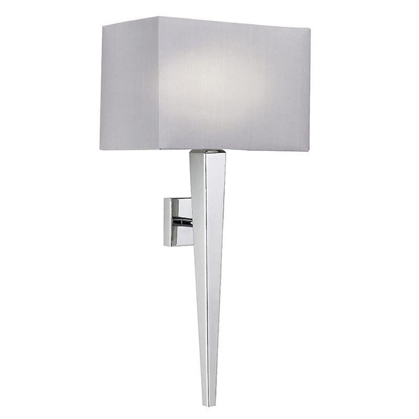 Traditional Wall Lights - Moreto chrome Finish And Grey Faux Silk Wall Light MORETO-1WBCH