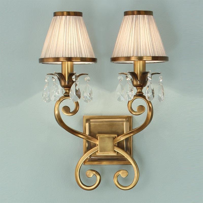 Traditional Wall Lights - Oksana Antique Brass Finish Double Wall Light With Beige Shades 63539